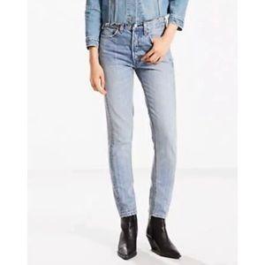 Women's Levi's 501 Skinny Altered Denim Blue Jeans